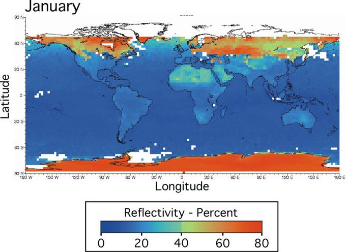 albedo de la Tierra en enero