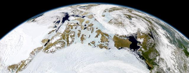 capa de nieve en el Ártico