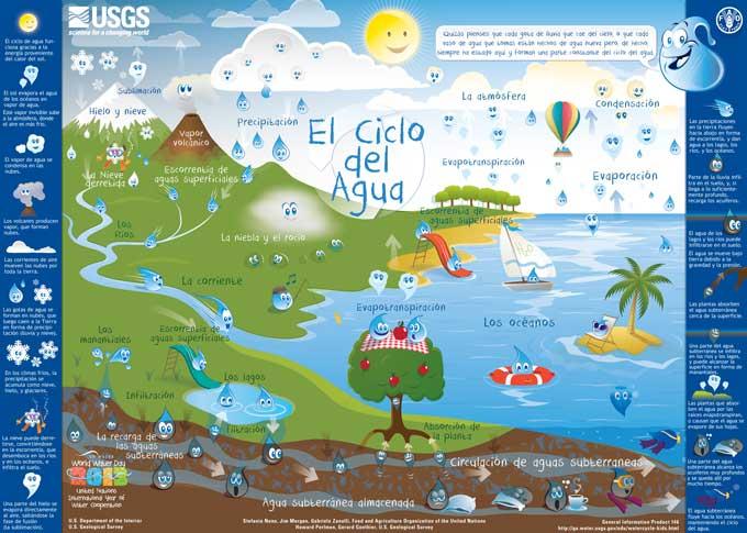 El Ciclo del Agua para niños, poster en español
