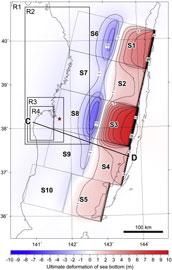 dunas submarinas formadas tras el tsunami de Japón