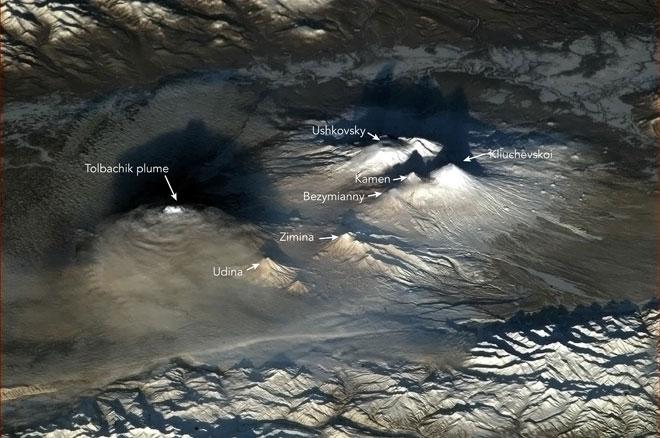 erupción de cuatro volcanes en la Península de Kamchatka