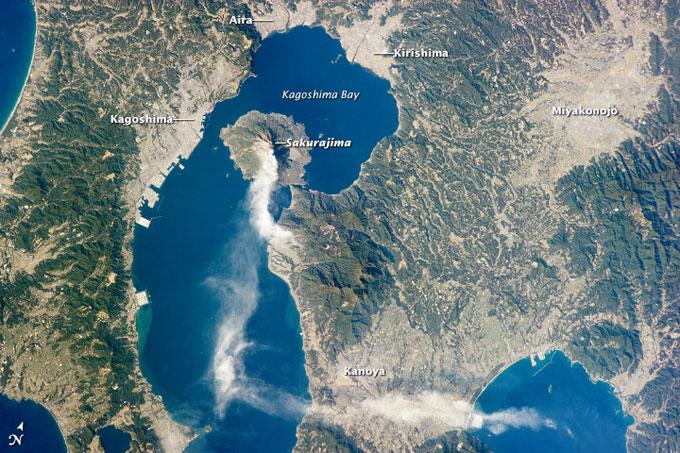 erupción del volcán Sakurajima desde la ISS