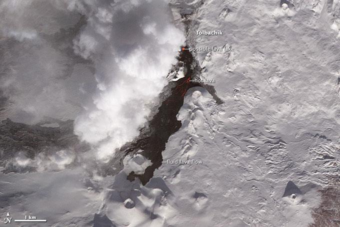 erupción del volcán Tolbachik, enero 2013