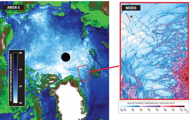hielo marino en el Estrecho de Fran