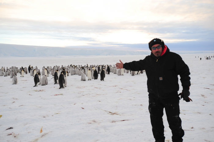 Kristof Soete en la nueva colonia de pingüinos emperador