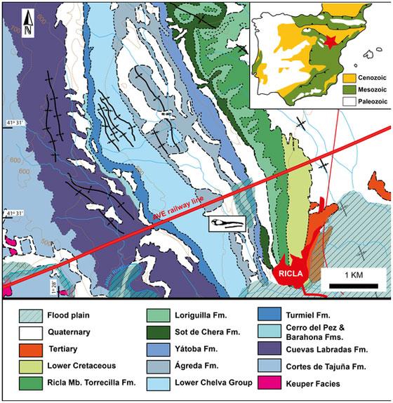localización del fósil de cocodrilo maldito de Ricla
