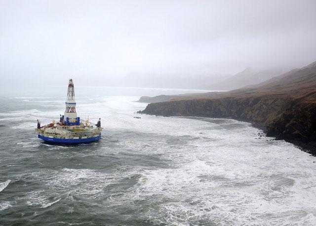plataforma petrolera Kulluk encallada en Alaska