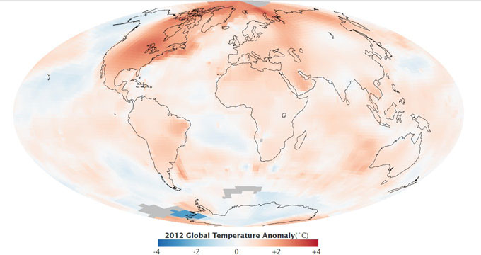 temperaturas globales en 2012