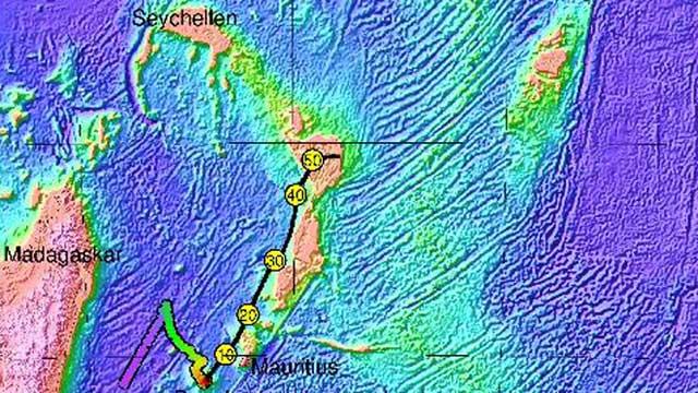 antiguo continente Mauritia en el Océano Índico