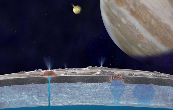 burbujas del océano de Europa salen a la superficie