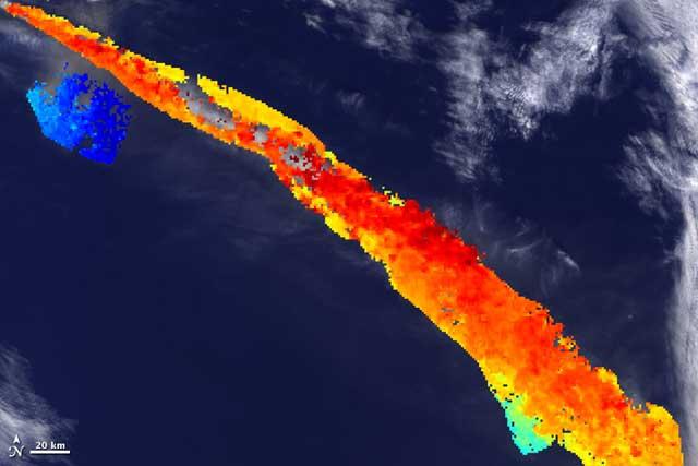 calor de la pluma del volcán de Islandia
