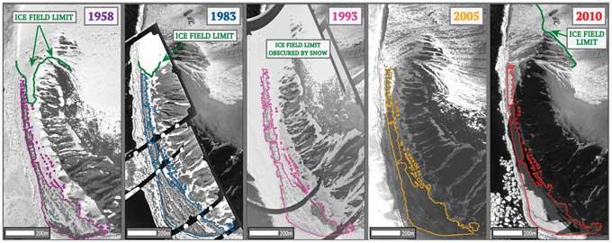 cambio en la extensión de hielo en el Mar de Ross, Antártida
