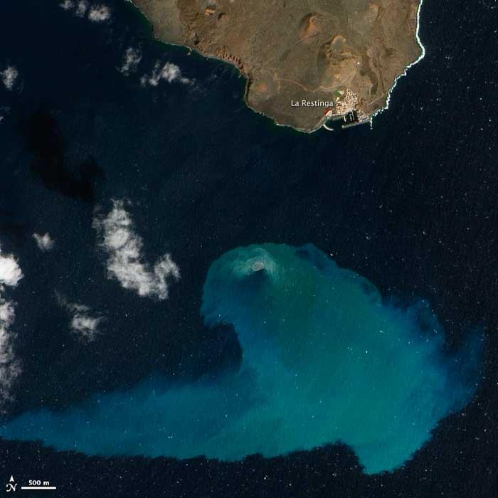 erupción submarina de El Hierro, imagen de satélite de la NASA