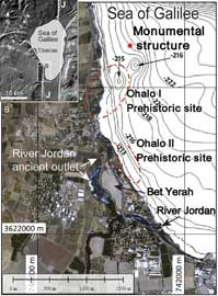 mapa de situación de la estructura submarina del Mar de Galilea