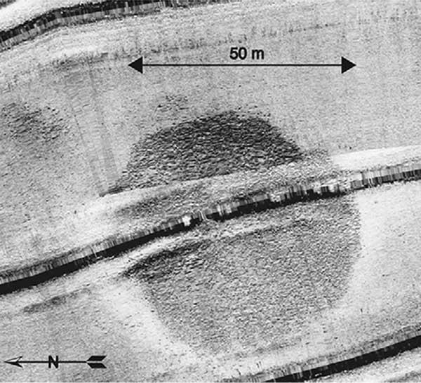 imagen de sonar de la estructura de piedras de Galilea