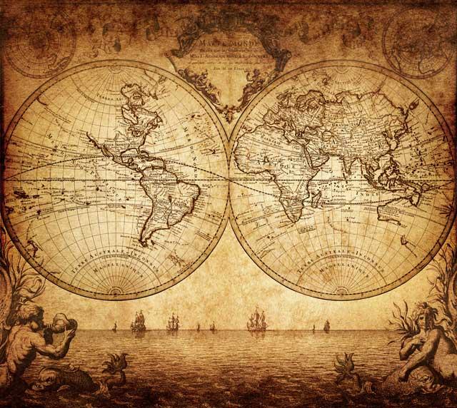 Los siete mares - grabado antiguo