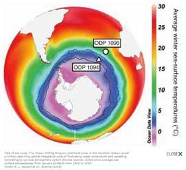 sitios de perforación en el Océano Austral