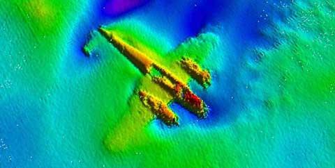 imagen de sonar del bombardero alemán Dornier 17
