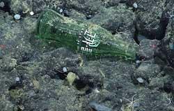 botella de cola en el fondo marino del Monterey Canyon, California