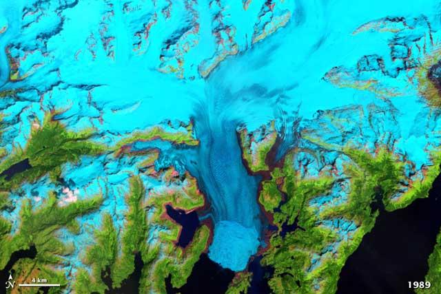retroceso del glaciar Columbia en Alaska