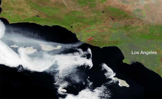 incendios en California desde satélite