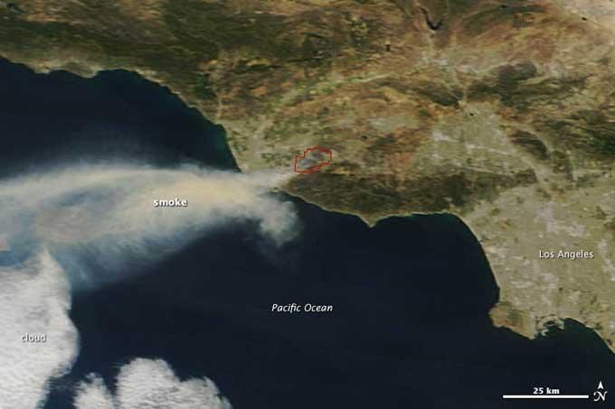 incendios en California desde satélite (Terra)