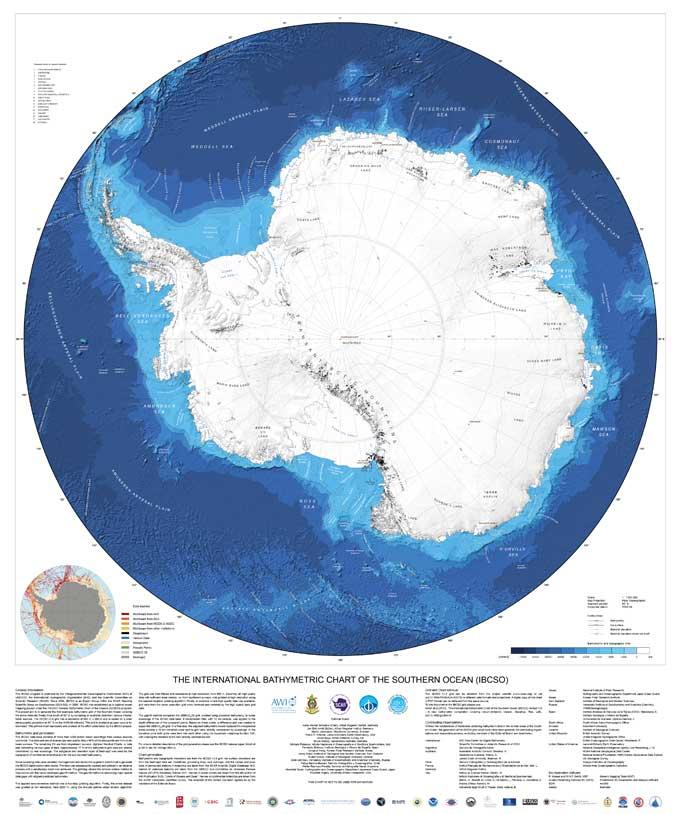 mapa batimétrico del océano Antártico