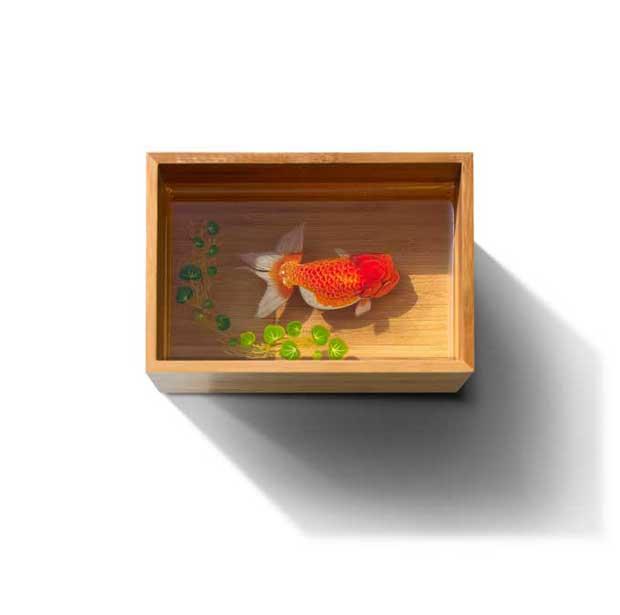 pez rojo en una caja de madera