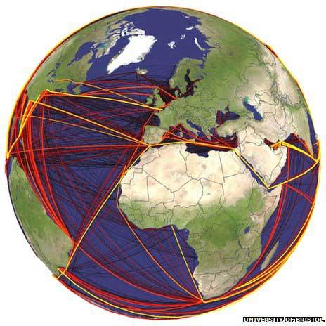 rutas marítimas que transportan especies invasoras