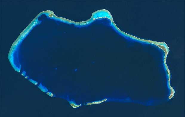 Atolón Bikini desde el satélite Landsat