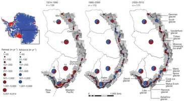 cambios en la capade hielo de la Antártida