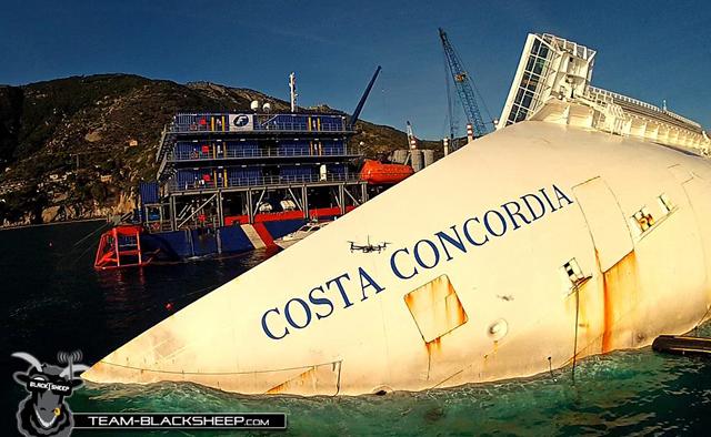 imagen del Costa Concordia por un drone