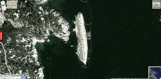 sitio del naufragio del Costa Concordia en Google Maps