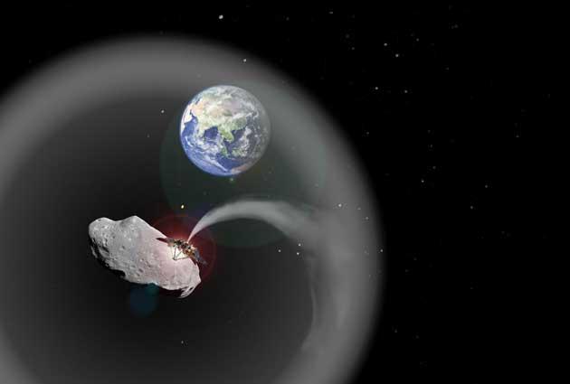 enfriamiento sembrando material de un asteroide