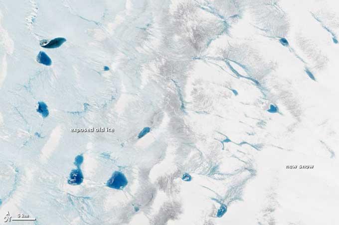 Fusión de hielo y nieve en Groenlandia