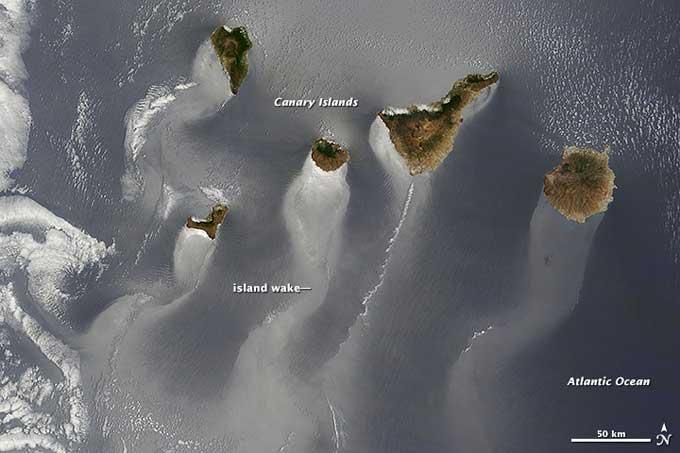 Islas Canarias, remolinos y corrientes desde satélite