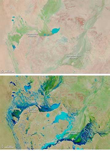 llanuras inundadas Australia - comparación