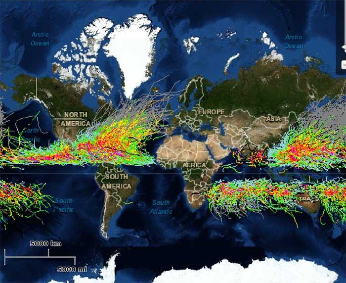 mapa de huracanes desde 1842
