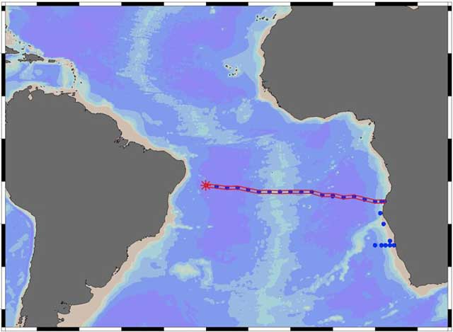 mapa de localización de las plumas de hierro de chimeneas hidrotermales en el Atlántico