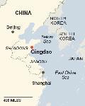 mapa de situación Qingdao, China