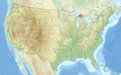 mapa en relieve de Estados Unidos, Chapel Rock