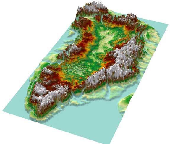 mapa topográfico muestra la altitud en el interior de Groenlandia