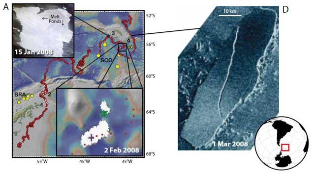 cambios en la posición del iceberg A53A