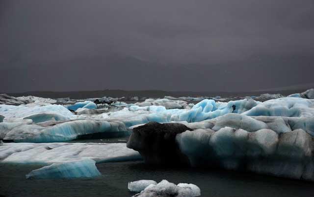 primer plano del hielo del lago Jokulsarlon, Islandia