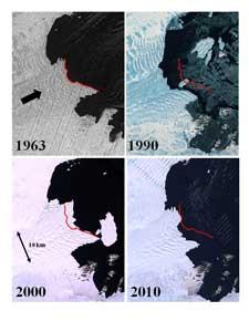 retroceso del glaciar Vanderford en la Antártida