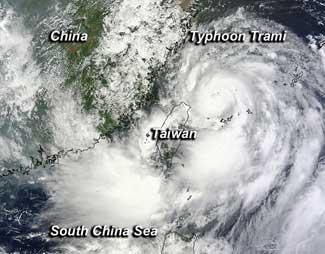 tifón Trami desde satélite