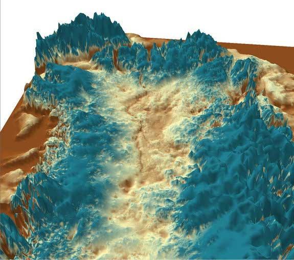 vista 3d del cañón sub-glacial en Groenlandia