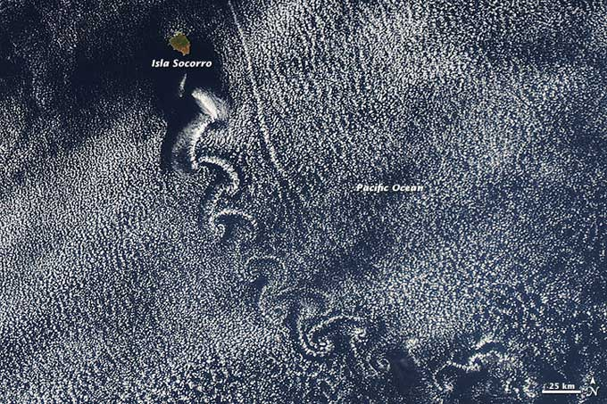vórtices de Von Kármán cerca de Isla Socorro