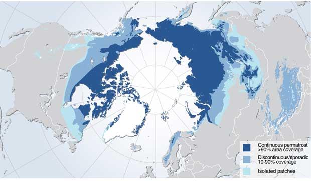 zonas de permafrost en el Ártico