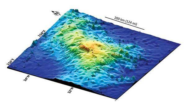 batimetría en 3D del volcán Tamu Massif